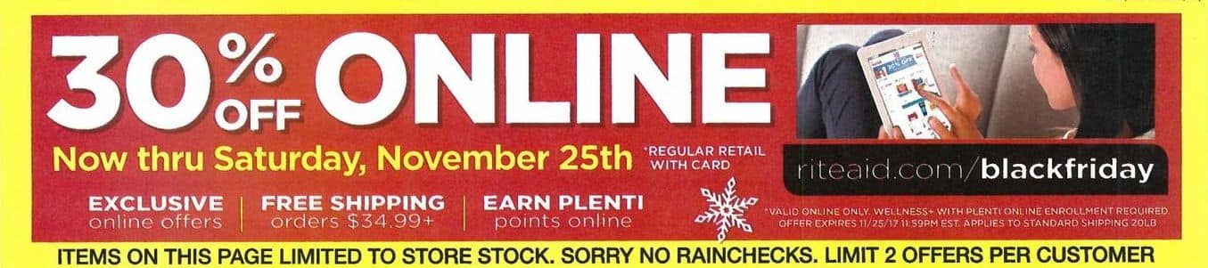 Rite Aid Black Friday: Online Purchases, Now Through November 25th, Regular Retail - 30% Off with Card