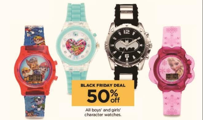Kohl's Black Friday: All Boys' and Girls' Character Watches - 50% Off