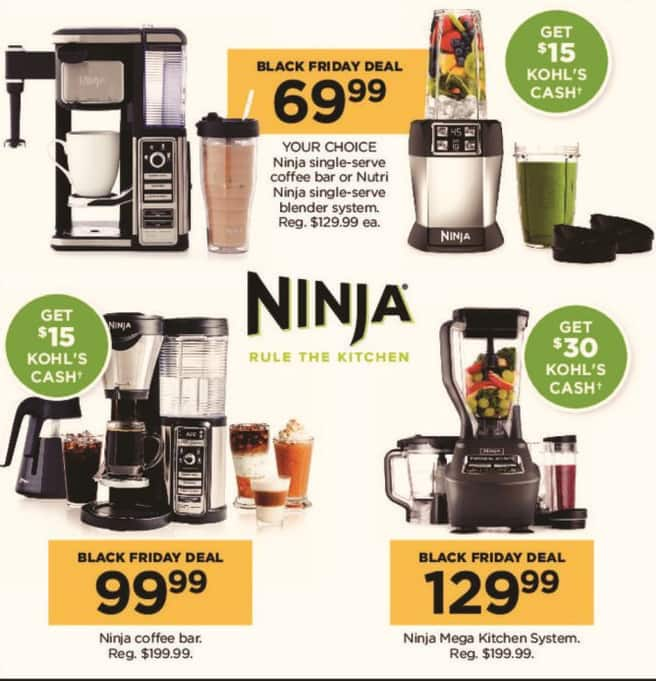 Kohl's Black Friday: Ninja Single-Serve Coffee Bar or Nutri-Ninja Single-Serve Blender System, Your Choice + $15 Kohl's Cash for $69.99