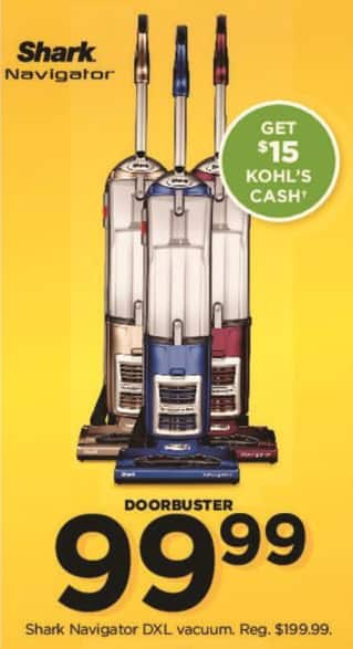 Kohl's Black Friday: Shark Navigator DXL Vacuum + $15 Kohl's Cash for $99.99