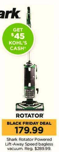 Kohl's Black Friday: Shark Rotator Powered Lift-Away Speed Bagless Vacuum + $45 Kohl's Cash for $179.99