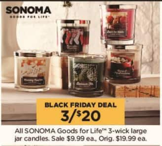 Kohl's Black Friday: (3) All Sonoma Goods for Life 3-wick Large Jar Candles for $20.00