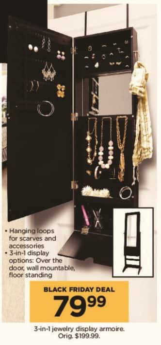 Kohl's Black Friday: 3-in-1 Jewelry Display Armoire for $79.99