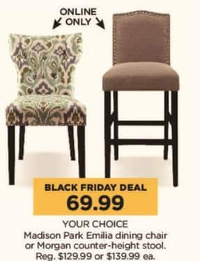 Kohl's Black Friday: Madison Park Emilia Dining Chair or Morgan Counter-Height Stool, Your Choice for $69.99