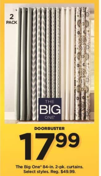 Kohl's Black Friday: The Big One 84-in. 2-pk. Curtains, Select Styles for $17.99