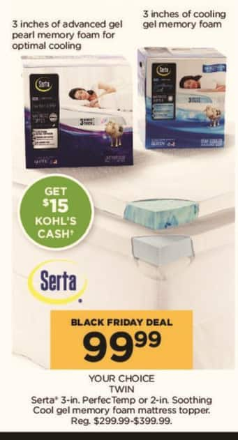 mattress topper black friday Kohl's Black Friday: Serta 3 in. PerfecTemp or 2 in. Soothing Cool  mattress topper black friday