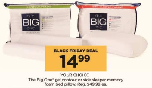 Kohl's Black Friday: The Big One Gel Contour or Side Sleeper Memory Foam Bed Pillow, Your Choice for $14.99