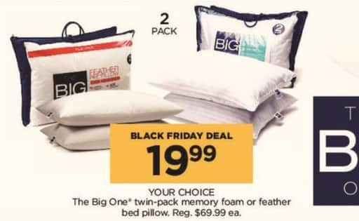 Kohl's Black Friday: The Big One 2-pk. Twin-Pack Memory Foam or Feather Bed Pillow, Your Choice for $19.99