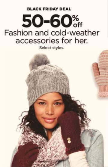 Kohl's Black Friday: Women's Fashion and Cold-Weather Accessories, Select Styles - 50-60% Off