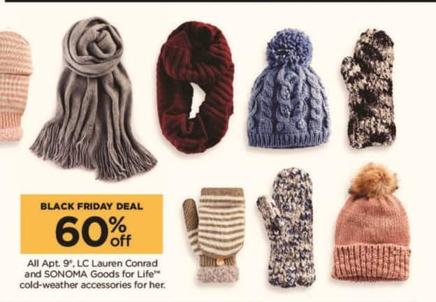 Kohl's Black Friday: All Apt. 9, LC Lauren Conrad and Sonoma Goods for Life Cold-Weather Women's Accessories - 60% Off