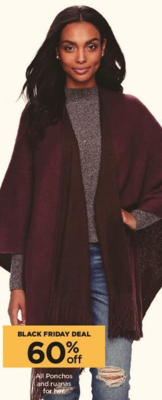 Kohl's Black Friday: All Women's Ponchos and Ruanas - 60% Off