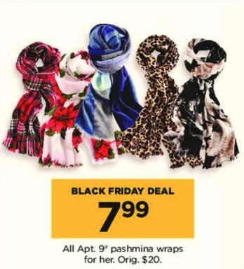 Kohl's Black Friday: All Apt. 9 Women's Pashimina Wraps for $7.99