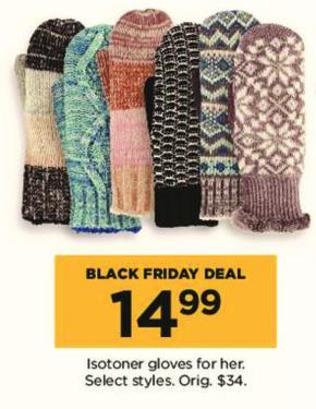 Kohl's Black Friday: Isotoner Women's Gloves, Select Styles for $14.99