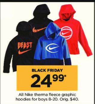 Kohl's Black Friday: All Nike Boys' Therma Fleece Graphic Hoodies for $24.99