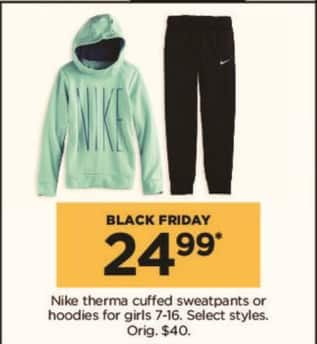 Kohl's Black Friday: Nike Girls' Therma Cuffed Sweatpants or Hoodies, Select Styles for $24.99