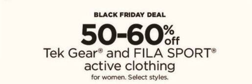 Kohl's Black Friday: Tek Gear and Fila Sport Women's Activewear, Select Styles - 50-60% Off
