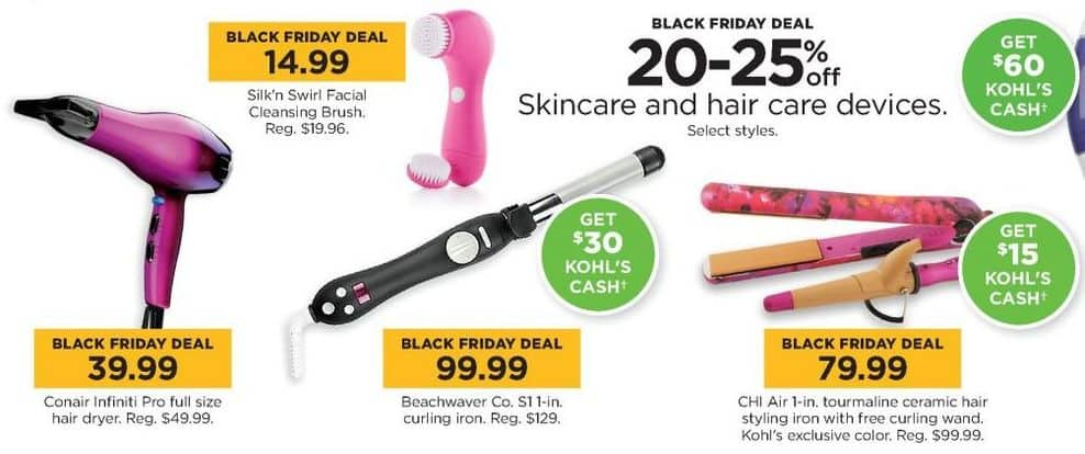 Kohl's Black Friday: Select Skincare and Hair Care Devices - 20-25% Off