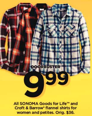 Kohl's Black Friday: All Sonoma Goods for Life and Croft & Barrow Women's and Petites Flannel Shirts for $9.99