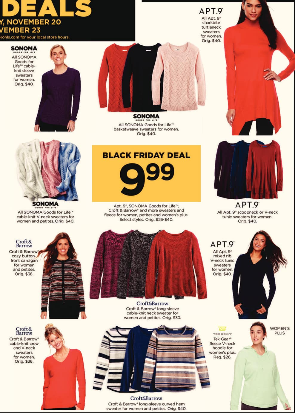 Kohl's Black Friday: Apt. 9, Sonoma Goods for Life, Croft & Barrow and More Sweaters and Fleece for Women, Petites and Women's Plus for $9.99