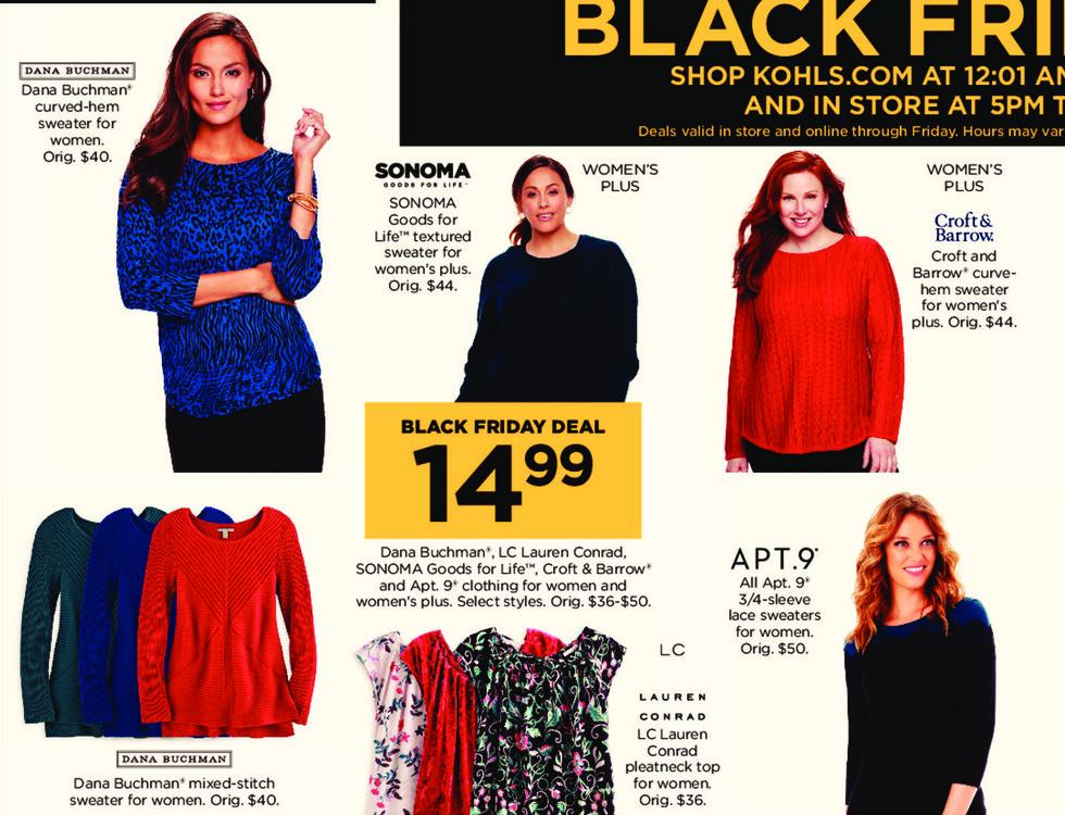 Kohl's Black Friday: Dana Buchman, LC Lauren Conrad, Sonoma Goods for Life, Croft & Barrow and Apt. 9 Women's and Women's Plus Clothing for $14.99