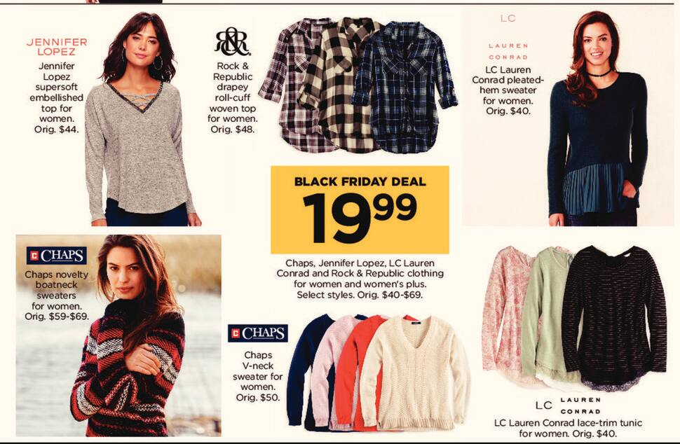 Kohl's Black Friday: Chaps, Jennifer Lopez, LC Lauren Conrad and Rock & Republic Clothing for Women and Women's Plus for $19.99