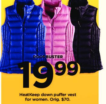 Kohl's Black Friday: HeatKeep Women's Down Puffer Vest for $19.99