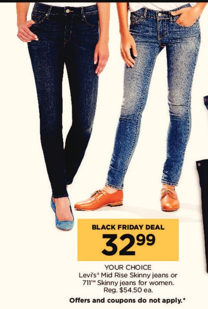 Kohl's Black Friday: Levi's Mid Rise Skinny Jeans or 711 Skinny Jeans for Women for $32.99