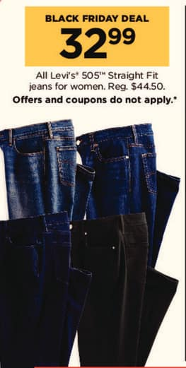 Kohl's Black Friday: All Levi's 505 Straight Fit Women's Jeans for $32.99