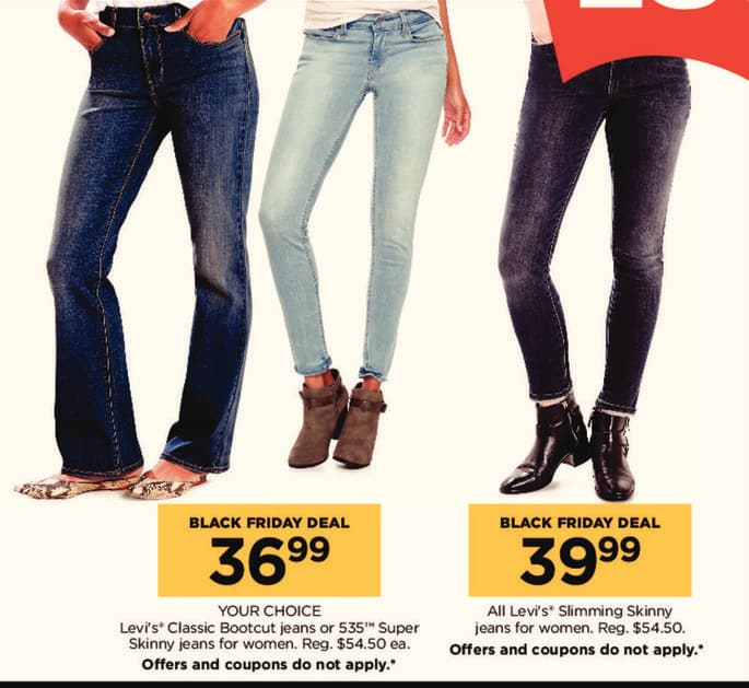 Kohl's Black Friday: Levi's Classic Bootcut Women's Jeans or Skinny Jeans for $36.99