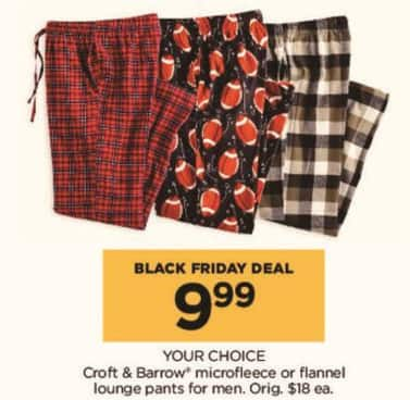 Kohl's Black Friday: Croft & Barrow Men's Microfleece or Flannel Lounge Pants, Your Choice for $9.99