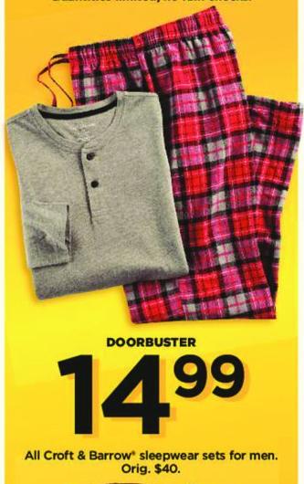 Kohl's Black Friday: All Croft & Barrow Men's Sleepwear Sets for $14.99