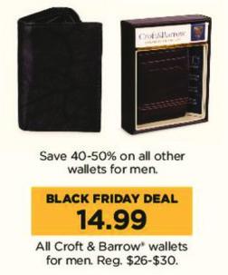 Kohl's Black Friday: All Croft & Barrow Men's Wallets for $14.99