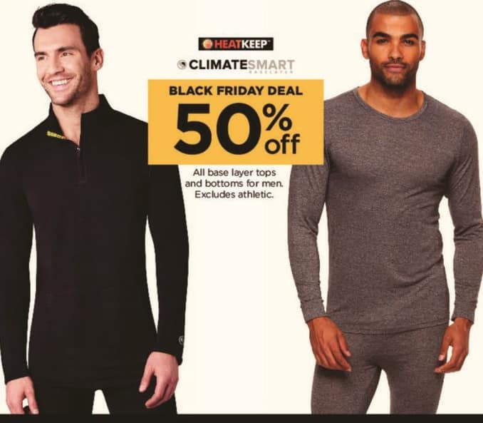 Kohl's Black Friday: All Men's Base Layer Tops and Bottoms - 50% Off