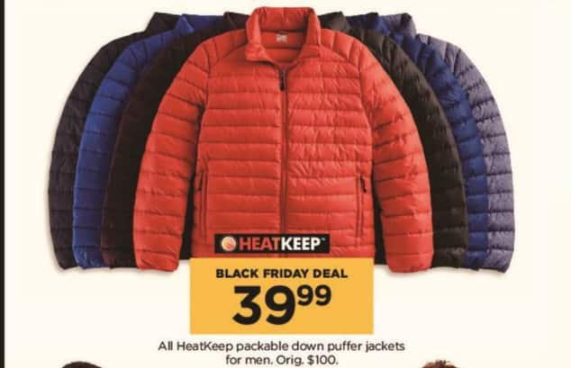 Kohl's Black Friday: All HeatKeep Men's Packable Down Puffer Jackets for $39.99