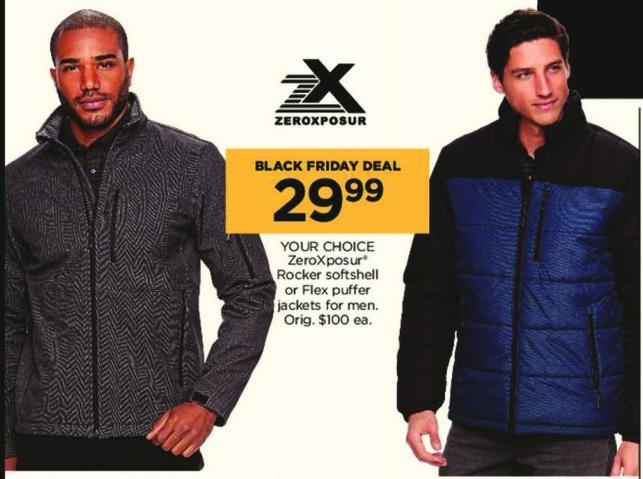 Kohl's Black Friday: ZeroXposur Men's Rocker Softshell or Flex Men's Puffer Jackets for $29.99