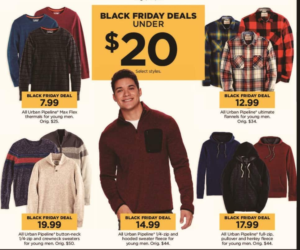 Kohl's Black Friday: All Urban Pipeline Young Men's 1/4-zip and Hooded Sweater Fleece for $14.99
