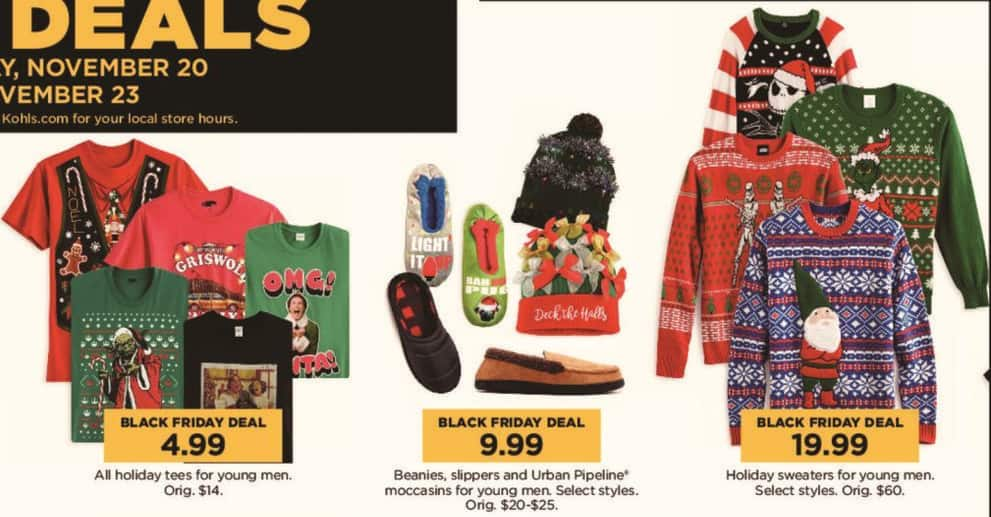 Kohl's Black Friday: All Men's Holiday Tees for $4.99