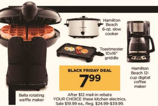 Kohl's Black Friday: Hamilton Beach 6-qt. Slow Cooker, Hamilton Beach 12-cup Digital Coffee Maker and Select Kitchen Electrics, Your Choice for $7.99 after $12.00 rebate