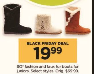 Kohl's Black Friday: SO Juniors' Fashion and Faux Fur Boots, Select Styles for $19.99