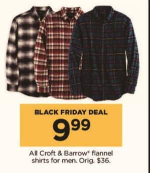 f1da46e2ed02bd Kohl s Black Friday  All Croft   Barrow Men s Flannel Shirts for  9.99