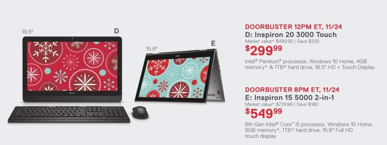 "Dell Home & Office Black Friday: Dell Inspiron 20 3000 Touch 19.5"" Desktop: Intel Pentium, 4GB, 1TB HD, Win 10 Home for $299.99"