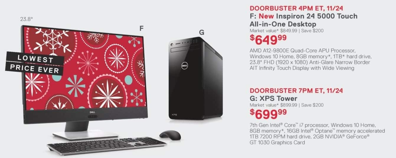 Dell Home & Office Black Friday: Dell XPS Tower: 7th Gen i7, 8GB, 1TB HD, Win 10 Home for $699.99
