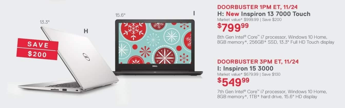 "Dell Home & Office Black Friday: Dell Inspiron 13 7000 Touch 13.3"" Laptop: 8th Gen i7, 8GB, 256GB SSD, Win 10 Home for $799.99"