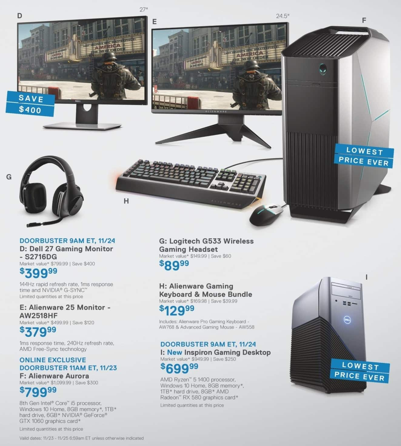 """Dell Home & Office Black Friday: Alienware AW2518HF 25"""" Monitor for $379.99"""
