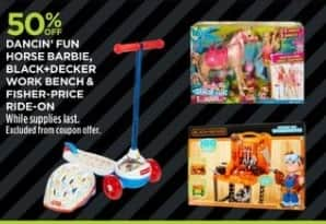 JCPenney Black Friday: Dancin' Fun Horse Barbie, Black+Decker Work Bench or Fisher-Price Ride-On - 50% Off