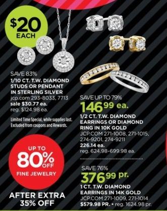 JCPenney Black Friday: 1 ct. t.w. Diamond 14k Gold Earrings for $376.99