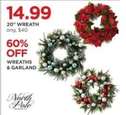 JCPenney Black Friday: North Pole Wreaths and Garland - 60% Off