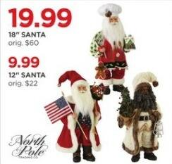 """JCPenney Black Friday: North Pole 12"""" Santa for $9.99"""
