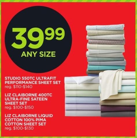 JCPenney Black Friday: Liz Claiborne Liquid Cotton 100% Pima Cotton Sheet Set, Any Size for $39.99