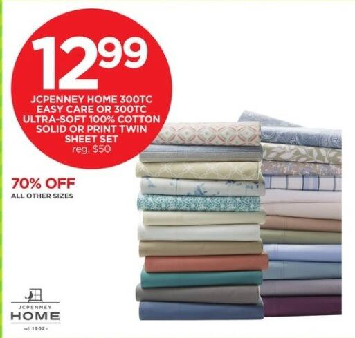 JCPenney Black Friday: JCPenney Home 300TC Easy Care or 300TC Ultra-Soft 100% Cotton Solid or Print Twin Sheet Set for $12.99